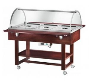 CL2777N Thermal bain-marie trolley with plexiglass dome (+30°+90°C) 3x1/1GN