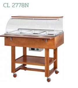 CL2778N Bain-marie warmed display case (+30°+90°C) 3x1/1GN wheels dome top