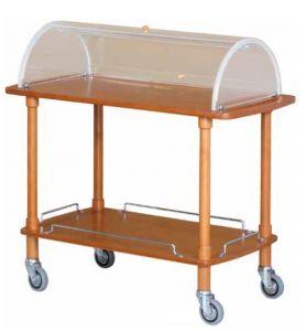 CLC2012 Carrello servizio legno 2 piani cupola plx 110x55x107h