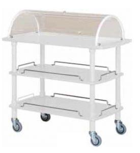 CLC 2013B White lacuered wooden trolley 3 shelves with plexiglas dome
