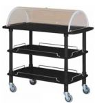 CLC 2013N Wodden service trolley black lacquered 3 shelves plexiglas dome