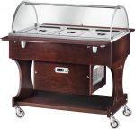 CLR2788W Carrello in legno refrigerato (+2°+10°C) 3x1/1GN cupola plx Wengé