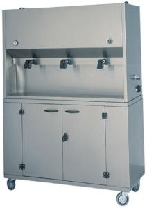 DCM1701 Distribuidor desayuno su ruedas 3 contenedores de 15 litros 106x41x135h