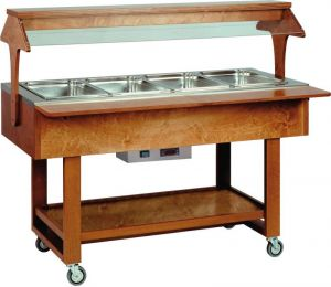 ELC2828 Wooden Hot display case bain marie (+30°+90°C) 4x1/1GN