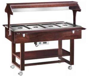 ELC2828W Espositore legno caldo bagnomaria (+30°+90°C) 4x1/1GN tettoia Wengé