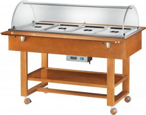 ELC2832 Bain-marie warmed display case with wheels dome (+30°+90°C) 4x1/1GN