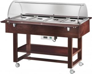 ELC2832W Bain-marie warmed display case with wheels dome (+30°+90°C) 4x1/1GN Wengé