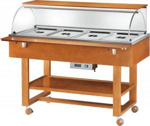 ELC2834 Hot display case bain marie cart wood (+30°+90°C) 4x1/1GN