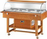 ELR2826BT Carrello espositore legno refrigerato (-5°+5°C) 4x1/1GN cupola/pianetto