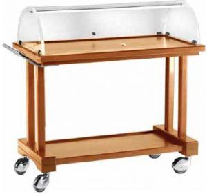 LPC800 Walnut stained wooden trolley 2 floors dome 81x55x108h