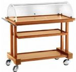 LPC850 Walnut stained wooden trolley 3 floors dome 81x55x108h