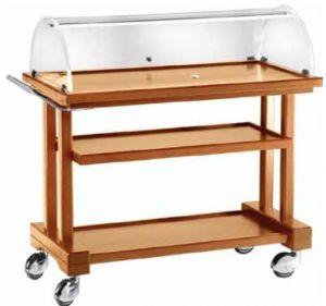 LPC 850 Chariot service en bois Noyer pour dessert 3 rayons 81x55x108h
