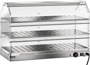 VBR4783 Warmed display case Stainless steel 3 shelves 85x35x54h