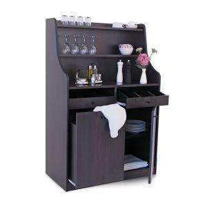 1606FW Mobile colore wengé, 1 sportello, 1 tramoggia, alzatina, 2 cassetti portaposate aperti