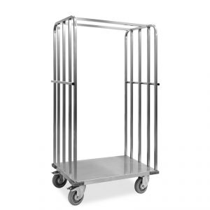 "1830-EINOX Carrello ""roll container"", 1 base+2 sponde, ruote supporto inox, elastiche, 2  2 frenate"