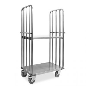 "1831-EINOX Carrello ""roll container"", 1 base+2 sponde, ripiano intermedio, ruote supporto inox, elastiche, 2  2 frenate"
