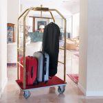 1950R-E Portabiti/portabagagli, ottonato, moquette bordeaux cm 108x76x189h, ruote elastiche, 2  2 frenate