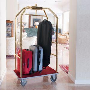 Portabiti/portabagagli, ottonato, moquette bordeaux cm 108x76x189h, ruote elastiche, 2  2 frenate