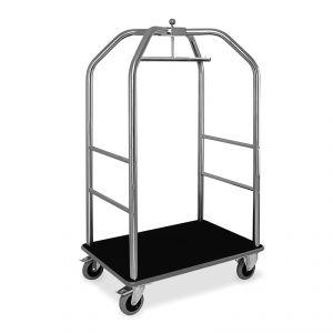 Portabiti/portabagagli, struttura inox lucido, moquette nera cm 108x76x189h