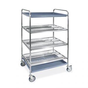 5014-F Carro escurridor para platos y vasos, 3 estantes escurridores, 1 vaso, 87 cm, 2 ruedas con freno