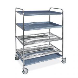 5030-F Carro escurridor para platos y vasos, 2 estantes escurridores, 2 vasos, 102 cm, 2 ruedas con freno