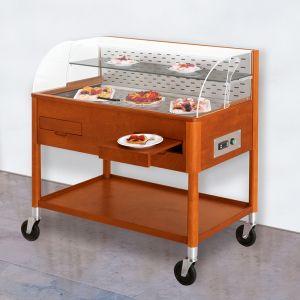 6670-18 Carrelli refrigeranti per dolci e formaggi, colore ciliegio