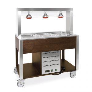 6910.3L-W Buffet caldo con parafiato fisso, lampade a infrarossi 3xGN 1/1, tinto wengé