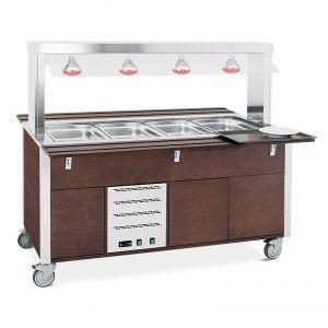 6910CPB.4L-W Buffet caldo con parafiato fisso, armadiato, lampade a infrarossi 4xGN 1/1, tinto wengé