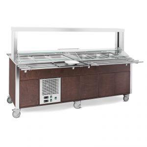 6920CPB.6F3M-W Buffet misto GN 6/1, 3 caldi-3 freddi, parafiato mobile, armadiato, illuminazione a led, tinta wengé