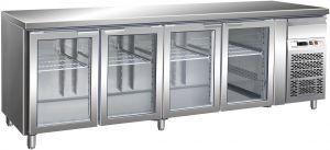 G-GN4100TNG - Tavolo Refrigerato Ventilato GN1/1 Temp +2/+8° C Porta Vetro