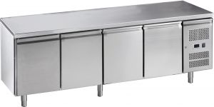 G-GN4100TN-FC Tavolo refrigerato ventilato in acciaio inox AISI 201, quattro porte