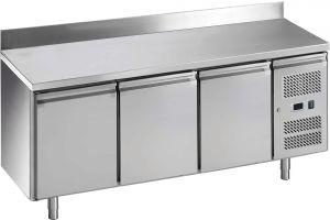 G-GN3200TN-FC Tavolo refrigerato ventilato, con alzatina, temp. -2 / +8 °C, telaio Inox AISI201