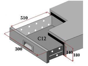 C12-FC Ensemble de 2 tiroirs pour comptoirs réfrigérés
