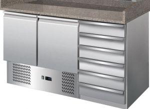 G-S903PZ-CAS-FC Table réfrigérée avec fonction de comptoir de pizza en acier inoxydable AISI201