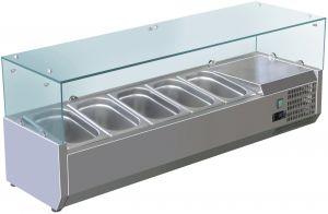 VRX1200-330-FC Vetrina refrigerata inox aisi 201 per bacinelle