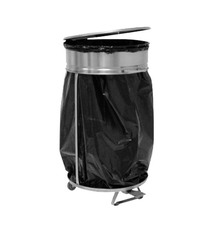 Stainless Steel Garbage Bag Holder With Pedal Lid Opening