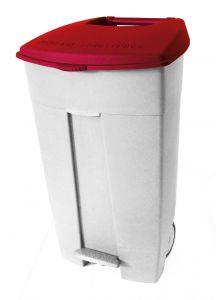 T102037 Contenitore mobile a pedale in plastica bianco-rosso 120 litri (multipli 3 pz)