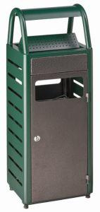 T103011 Gettacarte con posacenere verde/silver per esterni 4+25 litri
