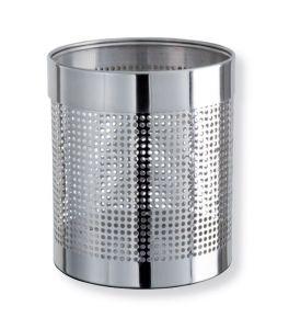 T103036 Corbeille à papier perforée acier inox brillant 11 litres