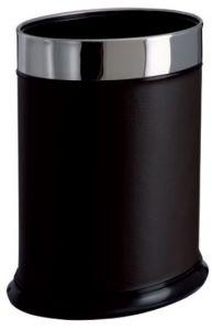 T103051 Papelera oval Metal recubierto en piel sintética negra 13 litros
