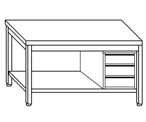 TL5257 Tavolo da lavoro in acciaio inox AISI 304 cassettiera dx ripiano 50x70x85