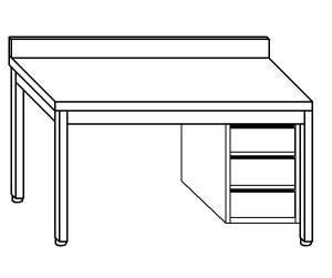 TL5305 Tavolo da lavoro in acciaio inox AISI 304 cassettiera dx alzatina 50x70x85