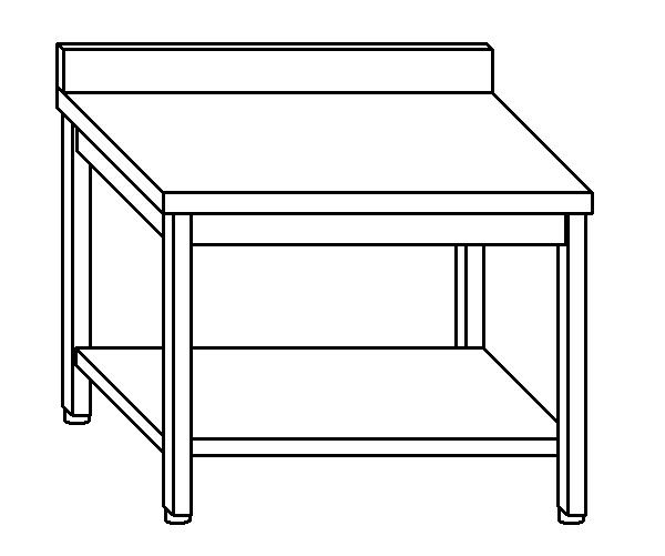 Tavolo da lavoro in acciaio inox AISI 304 su gambe con alzatina e ripiano. Dime