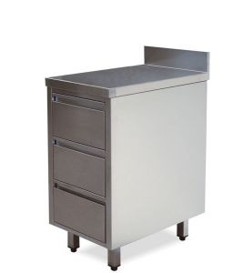 tiroirs CA3003 avec rebord en acier inoxydable et 3 tiroirs