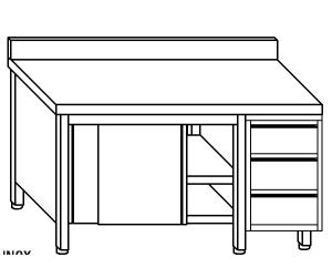TA4119 armoire avec des portes en acier inoxydable d'un côté, les tiroirs et dosseret DX