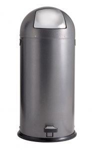 T106024 Papelera con pedal metal negro tapa inox 52 litros