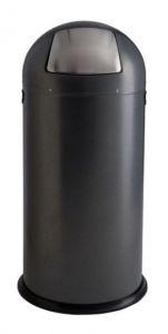 T106034 Papelera en metal gris con apertura push en acero inox satinado 52 litros