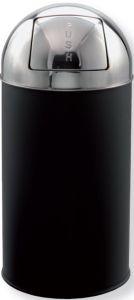 T106053 Gettacarte push metallo nero testa inox 40 litri