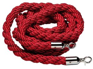 T106321 Red rope 2 chrome fixing hooks for crowd control post 1,5 meters