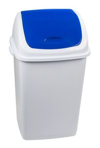 T909055 Pattumiera polipropilene bianca con coperchio basculante blu 50 litri (confezione da 6 pezzi)